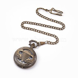 Alloy Pendant Necklace Quartz Pocket Watches, with Iron Chains and Lobster Claw Clasps, Flat Round with Word, Antique Bronze, 16.85inches(42.8cm); Watch Head: 68x46x14.5mm; Watch Face: 35mm(X-WACH-L044-12AB)