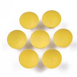 Paramètres de cabochon de glissière de fer environnementale peinte par pulvérisation d'environnement, pour bande de cheveux et décoration cravate, demi-rond, or, plateau: 15 mm; 15x9 mm, Trou: 3.5x5mm(IFIN-T009-13E)