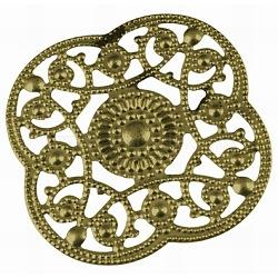 Pendentifs en fer, en filigrane, fleur, bronze antique, taille: environ 30 mm de long,  largeur de 30 mm, épaisseur de 0.3mm, Trou: 2mm(X-IFIN-DY032-AB)