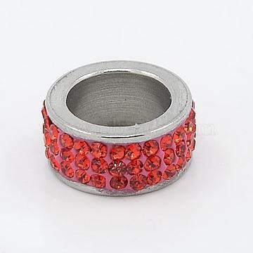 13mm Column Stainless Steel+Rhinestone Beads