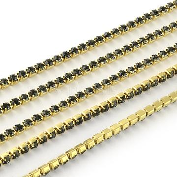 Nickel Free Raw(Unplated) Brass Rhinestone Strass Chains, Rhinestone Cup Chain, 2880pcs rhinestone/bundle, Grade A, Black Diamond, 2.2mm, about 23.62 Feet(7.2m)/bundle(CHC-R119-S6-01C-1)