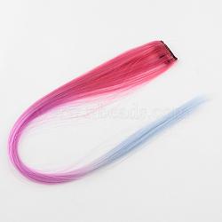 Accessoires de cheveux de mode pour femmes, pinces à cheveux à pression de fer, avec nylon coloré perruques de cheveux, clair bleu acier , 47 cm(PHAR-R125-11)
