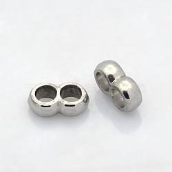 304 из нержавеющей стали многожильных ссылки, для изготовления кожаных браслетов, цвет нержавеющей стали, 4x12x7 мм, отверстие : 4 мм(STAS-N035-03)