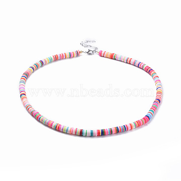 Handmade Polymer Clay Heishi Beaded Necklaces, with Electroplate Glass Seed Beads, Brass Crimp Beads and 304 Stainless Steel Findings, Colorful, 18.7 inches(47.5cm), 6mm(NJEW-JN02451)