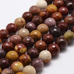 """Chapelets de perles en mookaite naturelles, facette, rond, 10mm, trou: 1mm; environ 37 pcs/chapelet, 14.9""""~15.1""""(G-D840-30-10mm)"""
