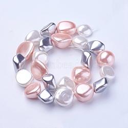 Perles de perles de coquille galvanoplastie, nuggets, colorées, 15~21x15~18x7.5~15mm, Trou: 1mm, Environ 19 pcs/chapelet, 16.14''~16.53'' (41~42 cm)(BSHE-P030-02A)