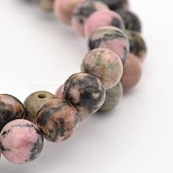 """Rondes rhodonite naturelle perles brins, 6mm, trou: 1mm; environ 60 pcs/chapelet, 15.5""""(G-M136-6mm)"""