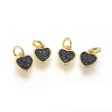 Brass Micro Pave Cubic Zirconia Charms, with Jump Ring, Heart, Black, Gunmetal & Golden, 8x7x2mm, Hole: 3mm(X-ZIRC-G150-03A)