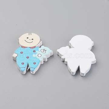 Printed Natural Wooden Beads, Dyed, Baby & Bear, LightSkyBlue, 35x28x4.5mm, Hole: 1.5mm(X-WOOD-S037-091A)