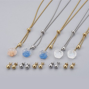 304 Stainless Steel Jewelry Sets, with Resin, Slider Necklaces and Stud Earring, Mixed Color, 23.62inches(60cm); 2mm; 19x8mm, Pin: 0.8mm(SJEW-E326-M)