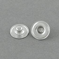 Accessoires de bouton pression en laiton, goujon, plat rond, platine, 12x4mm, Bouton: 4.5 mm(X-BUTT-R029-03)