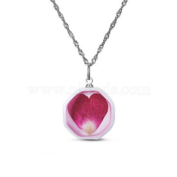 SHEGRACE 925 Sterling Silver Octagon Porcelain Pendant Necklaces, with Flower Pattern, Spring Clasps, Platinum, 17.7inches(JN373A)