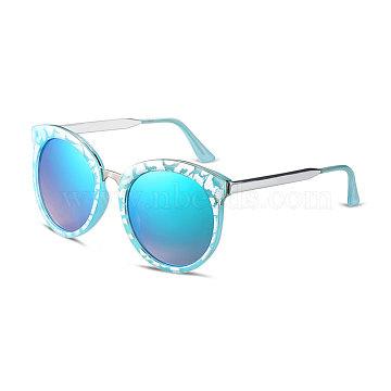 Fashion Round Lens Women Sunglasses, Sky Blue Plastic Frames and PC Space Lens, Blue Green, 5.1x14.5cm(SG-BB14391-2)