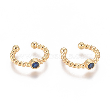 Golden Plated Brass Micro Pave Cubic Zirconia Cuff Earrings, Long-Lasting Plated, DarkBlue, 14.5~15x2~3mm(EJEW-L244-05A)