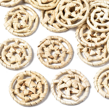 Blanched Almond Flat Round Rattan Beads