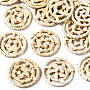 Blanched Almond Flat Round Rattan Beads(WOVE-S119-21)