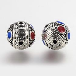Laiton 3 perles gourou -hole, perles t-percées, avec l'émail, rond, argent antique, 13mm, Trou: 1.5mm(KK-K202-42AS)