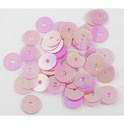 paillette en plastique / perles paillettes, hotpink, 6 mm de diamètre, trou: 1 mm(X-PVC6mm01Y)