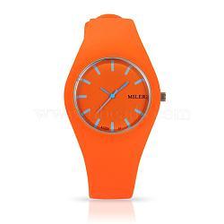 En acier inoxydable de montres-bracelets de silicone de quartz des femmes à la mode, orange, 255x18 mm; tête de montre: 32x42x9 mm(WACH-N008-11A)