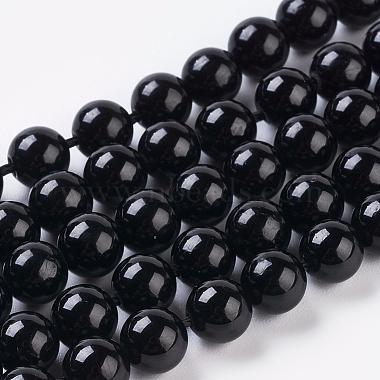 6mm Black Round Tourmaline Beads