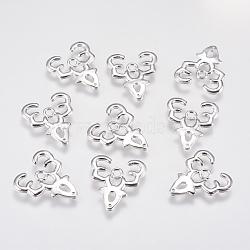 Pendentifs avec zircon cubiques à micro-pavés en laiton, renne de Noël / cerf, Platine plaqué réel, 17x15x1.5mm, Trou: 1.5mm(KK-A144-057P)