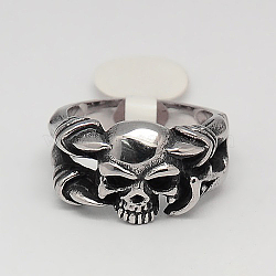 Les bijoux de Halloween de rétro hommes uniques 316 anneaux crâne d'acier inoxydable, argent antique, 17~23mm(RJEW-F006-338)