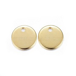 304 Stainless Steel Charms, Flat Round, Stamping Blank Tag, Golden, 10x0.8mm, Hole: 1.5mm