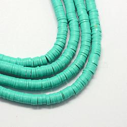 """Perles artisanales à l'argile polymère artisanales, disque / plat rond, perles heishi, turquoise moyen, 6x1mm, trou: 2mm; environ 380~400 pcs/chapelet, 17.7""""(X-CLAY-R067-6.0mm-34)"""