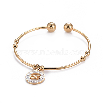 304 Stainless Steel Charm Bangles, Cuff Bangles, Torque Bangles, with Polymer Clay Rhinestone and Round Beads, Flat Round with Infinity, Golden, 2-1/4inchesx2inches(5.7x5cm)(BJEW-L664-005G)