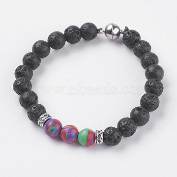 Natural Lava Rock Beads Stretch Bracelets, with Natural Malachite and Magnetic Clasp, 7-1/2 inches(190mm)(BJEW-I241-12N)