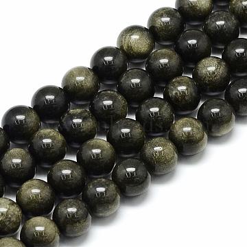 6mm Round Golden Sheen Obsidian Beads