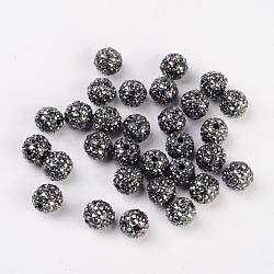 Perles en alliage métallique avec strass, rond, grises , taille: environ 10mm de diamètre, Trou: 2mm(X-ALRI-B032-1)