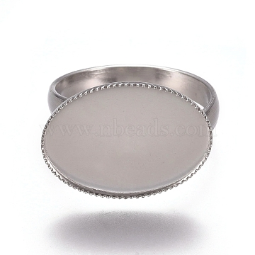 304 Stainless Steel Finger Rings Components, Pad Ring Base Findings, Oval, Stainless Steel Color, Tray: 18.5x13.5mm, Size 7, 17.5mm(X-STAS-E482-26P)