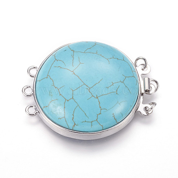 Synthetic Turquoise Box Clasps, Multi-Strand Clasps, with Platinum Tone Brass Findings, Flat Round, 3-Strands, 6-Holes, 39~40x31~32x8~11mm, Hole: 2mm(G-L473-G07)