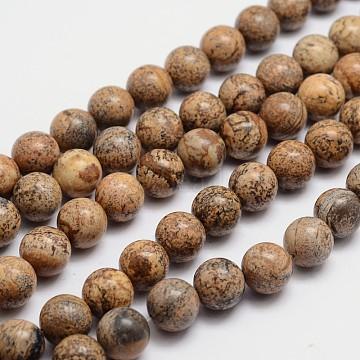 rondes image naturelle brins jaspe de perles, 6 mm, trou: 1 mm; environ 65 perle / brin, 15.74(X-G-L419-89)