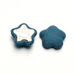 Украшения для вырезок для обложки для аксессуаров flatback звезда купол полька точка ткань ткань покрыта кабошонами, с алюминиевой нижней, зелено-синие, 17x6 мм(X-WOVE-F015-01)