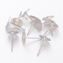 composants Earstud, tête en laiton et tige en acier inoxydable, sans plomb, sans cadmium et sans nickel, platine, plateau: 8 mm; 12 mm(X-KK-C2900-NFN-1)