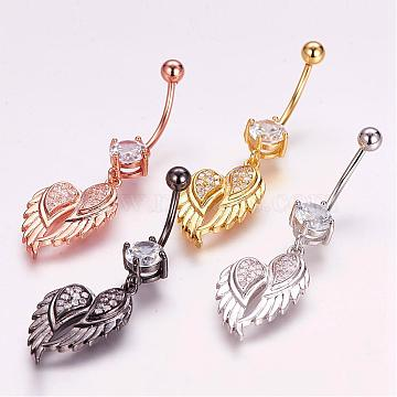 Piercing Jewelry, Brass Micro Pave Cubic Zirconia Belly Rings, with 304 Stainless Steel Pins, Wing, Mixed Color, 46mm, Pin: 1.5mm(ZIRC-J017-12)