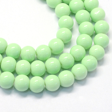 Baking Painted Glass Round Bead Strands, Pale Green, 8.5~9mm, Hole: 1.5mm; about 105pcs/strand, 31.8 inches(X-DGLA-Q020-8mm-22)