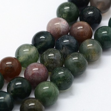 Natural Indian Agate Beads Strands, Round, 4mm, Hole: 0.6mm; about 95pcs/strand,  14.76 inches(37.5cm)(X-G-I199-05-4mm)