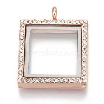 Alloy Magnetic Locket Pendants, with Rhinestone and Glass, Square, Crystal, Rose Gold, 36x29x7mm, Hole: 5mm; Inner Measure: 21x21mm(PALLOY-T052-19RG)