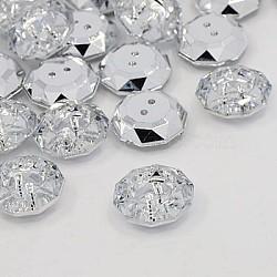 Boutons en acrylique avec strass, 2-trou, facette, plat rond, cristal, 18.5x18x6.5mm, Trou: 1mm(BUTT-J003-01)