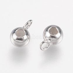 925 liens de suspension en argent sterling, avec du caoutchouc, rondelle, Perles renflouer , perles de butoir, Platine plaqué réel, 6.5x4x3.5mm, Trou: 1.5mm(STER-E057-01P-4mm)