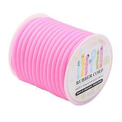 Cordon en caoutchouc synthétique, creux, enroulé aurond de plastique blanc bobine, rose, 5mm, trou: 3mm; environ 10.94yards / roll (10m / roll)(RCOR-JP0001-5mm-03)