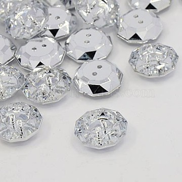 Acrylic Rhinestone Buttons, 2-Hole, Faceted, Flat Round, Crystal, 18.5x18x6.5mm, Hole: 1mm(BUTT-J003-01)