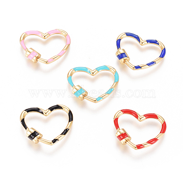 Golden Plated Brass Screw Carabiner Lock Charms, with Enamel, for Necklaces Making, Long-Lasting Plated, Heart, Mixed Color, 22x26.5x5.3mm; Screw: 6.5x5.3mm(KK-L197-01)