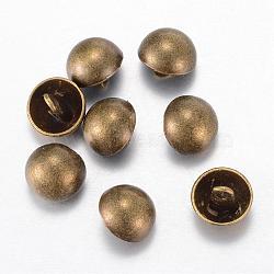 Boutons en alliage, 1-trou, dôme / demi-rond, de style tibétain, bronze antique, 20x10mm, Trou: 1.5mm(BUTT-D054-20mm-06AB)
