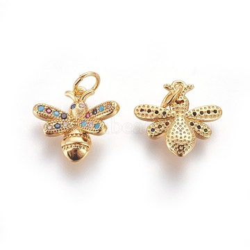 Golden Colorful Bees Brass+Cubic Zirconia Charms