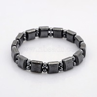 Magnetic Hematite Square and Round Beads Stretch Bracelets for Valentine's Day Gift, 55mm