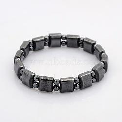 Carré d'hématite magnétique et perles rondes étendent bracelets pour le cadeau de Saint-Valentin, 55mm(BJEW-M066-13)